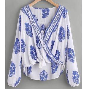 Tops - Blue and white Boho Printed top
